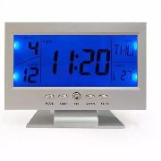 Relógio De Mesa Digital Despertador Temperatura - Prata