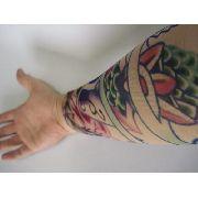 Manga Tatuada Braço Com Tatuagem Spandex