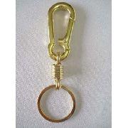Chaveiro Metal Mosquetão Argola Dourado