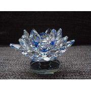 Flor De Lótus De Cristal Transparente Azul 10cm
