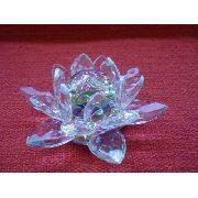 Flor De Lótus De Cristal Colorida Boreal 9cm