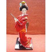 Boneca Gueixa Japonesa Bastão Chinesa Oriental Decoração