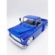 Carrinho Metal Caminhonete Chevy 1955 Stepside Azul 1/24