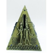 Cofre Piramide 13cm Miniatura Metal Egito Faraó Dourada