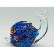 Enfeite Baleia Vidro Decoração 12cm Murano Azul 21507b