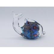 Enfeite Golfinho Vidro Decoração 12cm Murano Azul