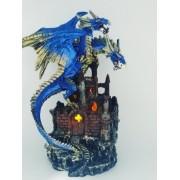 Enfeite Resina Dragão Azul Led 26cm Castelo Tesouro