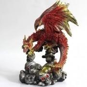 - Enfeite Resina Dragão Escarlate Rubi Carnívoro 21cm Crânio