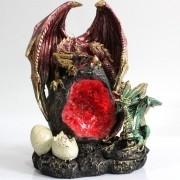 - Enfeite Resina Dragão Ninho Tesouro Ovos Led 21cm Decoração
