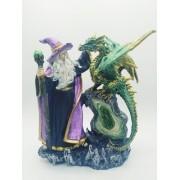 - Enfeite Resina Mago Com Dragão Merlin 24cm Decoração