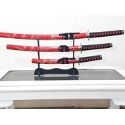 - Espada 3 Peças Samurai Katana Japones Dragão + Suporte