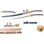 - Espada Katana Ronin Cerimonial Shogun Azul Bainha E Suporte