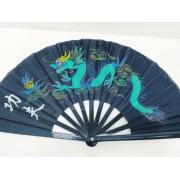 Leque Oriental Dragão Fenix Dança Kung Futai Chi Chuan Green