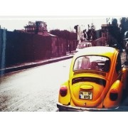 - Placa Metal Fusca Amarelo Beetle Street 27x20cm Vintage