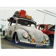 - Placa Metal Fusca Azul Rust Coleção 27x20cm Vintage Volks