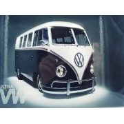 - Placa Metal Kombi Preta Black Street 27x20cm Vintage