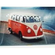 - Placa Metal Kombi Vermelha 27x20cm Vintage Praia