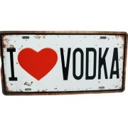 Placa Metal Vintage 31x17 Bebida Eu Amo Vodka Love Drink