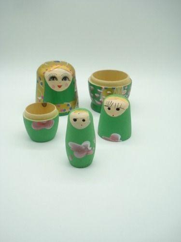 Boneca Matryoshka Russa 5 Peças Verde  - Presente Presente
