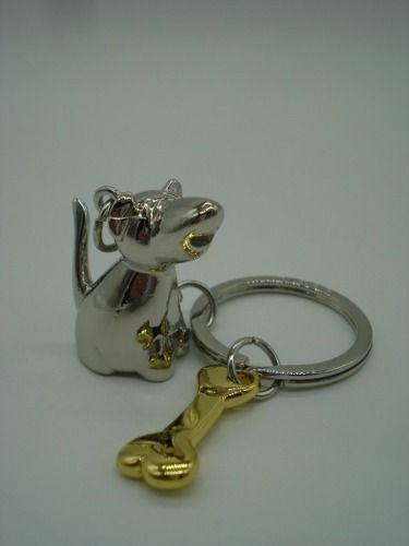 Chaveiro Cachorro E Osso Dourado Bull Terrier  - Presente Presente