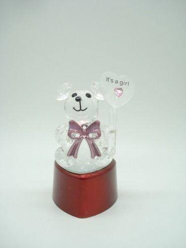 Enfeite Urso Mini Ursinho Vidro Base Led Decoração 9cm  - Presente Presente