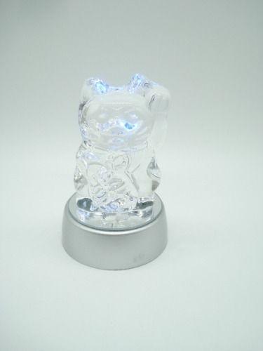 Enfeite Gato Miniatura Vidro Base Led Decoração 9cm  - Presente Presente