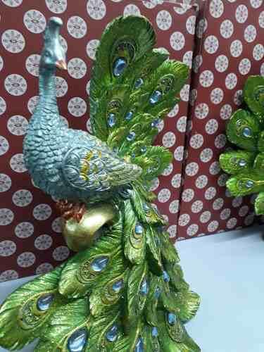 Estatua Resina Pavão 29x31cm Decoração Coleção  - Presente Presente