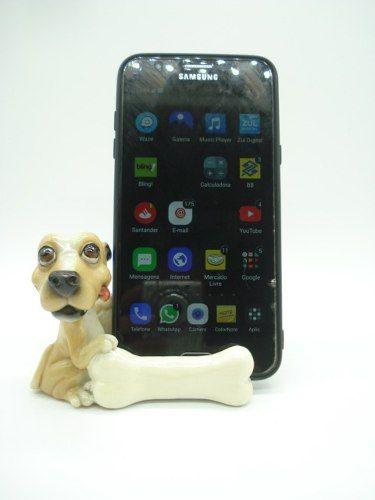 Enfeite Resina Cachorro Porta Celular 11cm Decoração Xce3563  - Presente Presente