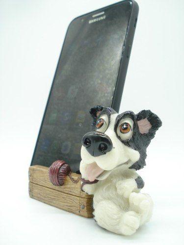Enfeite Resina Cachorro Porta Celular 11cm Decoração Xce3564  - Presente Presente