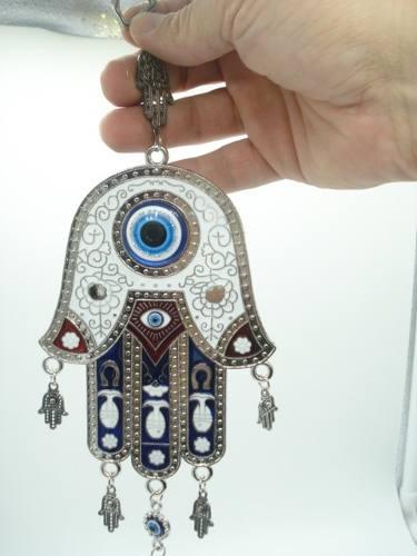 Enfeite Mobile Mão De Hamsa Olho Grego Metal Portal Branca  - Presente Presente