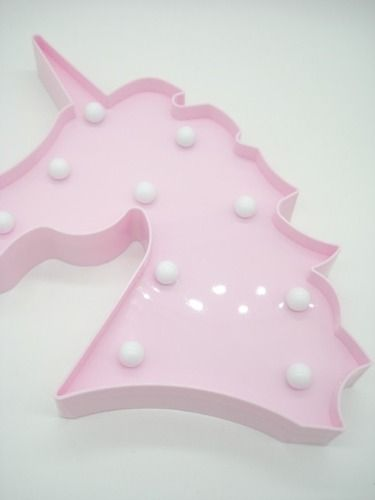 Decoração Enfeite Luminária Led Abajur Cabeça Unicórnio Rosa  - Presente Presente