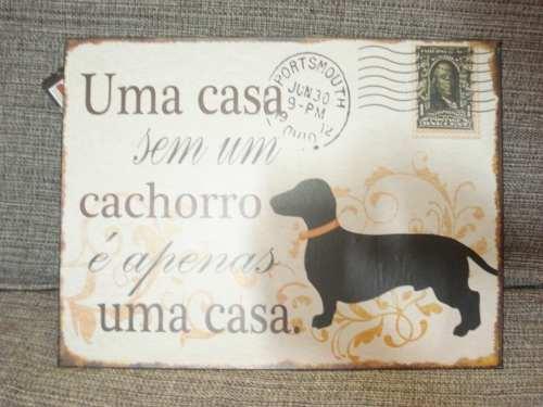 Placa Metal Casa Sem Cachorro 40x30cm Decoração Coleção  - Presente Presente