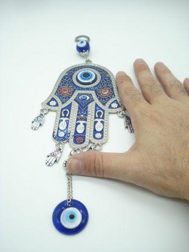 Enfeite Mobile Mão De Hamsa Olho Grego Metal Portal  - Presente Presente