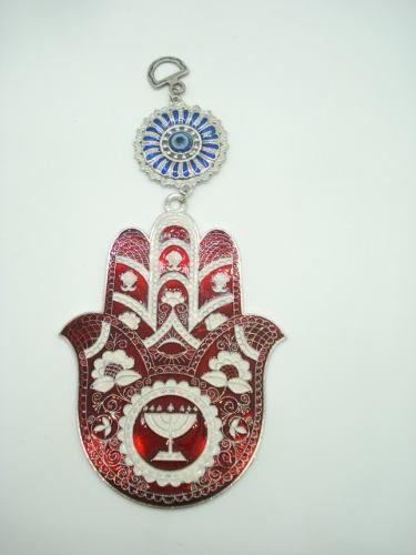 Enfeite Mobile Mão De Hamsa Judaica Olho Grego Metal Portal  - Presente Presente