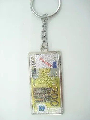 Conjunto 6 Peças Chaveiro Metal Cédula Nota De Euro  - Presente Presente