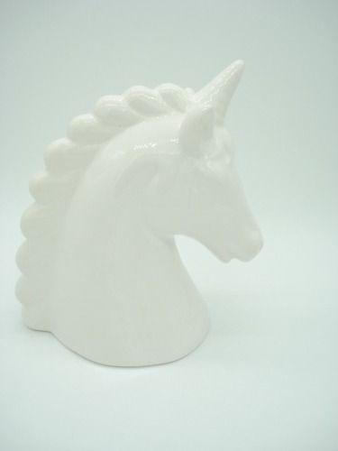 Cofre Unicornio Branco Cerâmica Presente Decoração  - Presente Presente