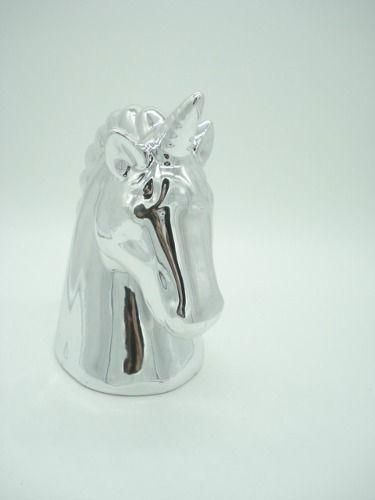 Cofre Unicornio Prata Cerâmica Presente Decoração Mod2  - Presente Presente