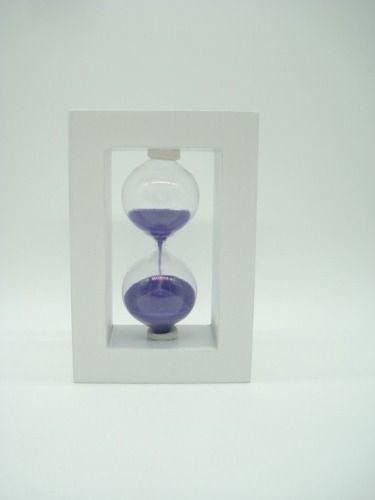 Ampulheta Base Branca Madeira Areia Roxa Relógio Decoração  - Presente Presente