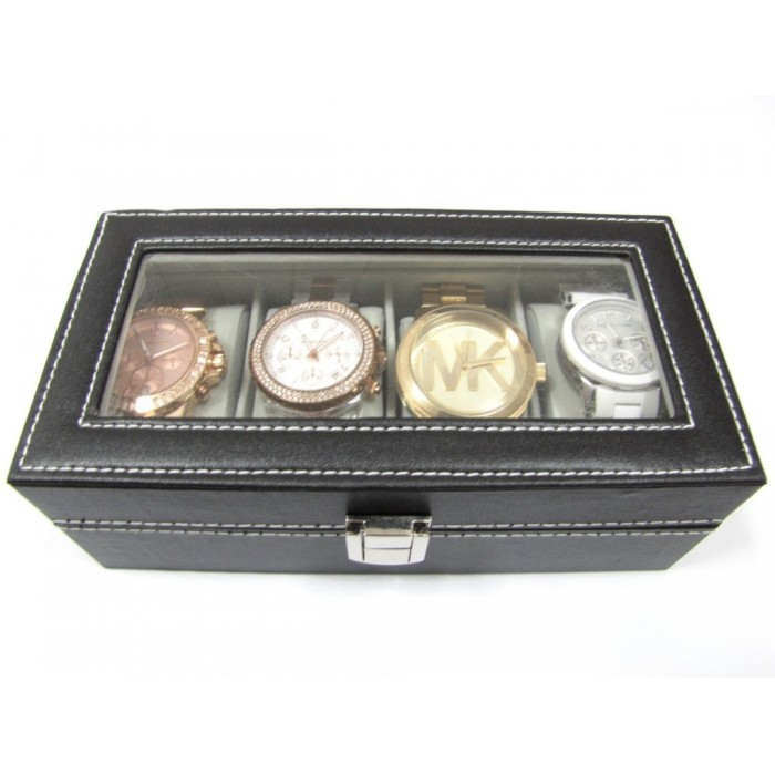 Caixa Estojo Para 4 Relógios Organizador Luxo  - Presente Presente