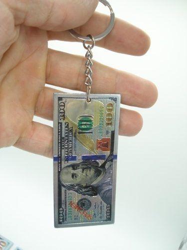 Chaveiro Metal Cédula Nota De 100 Dolares  - Presente Presente
