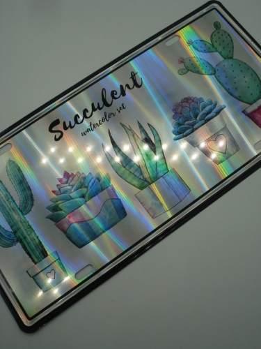 Placa Metal Vasos Holográfica 30x16cm Decoração Coleção  - Presente Presente