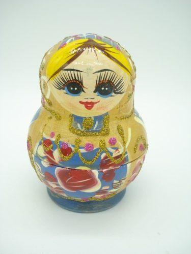 Boneca Matryoshka Russa 5 Peças Azul  - Presente Presente