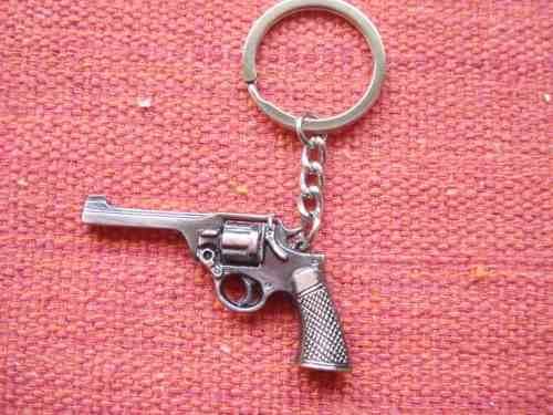 Chaveiro Revolver Metal Gun Vintage Dourada Sp440  - Presente Presente