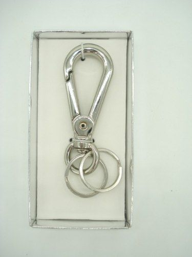 Chaveiro Inox Luxo Mosquetão Argola Tripla Metal D0004568  - Presente Presente