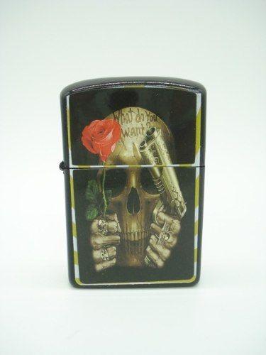 Isqueiro Caveira Flor E Arma Flower Fluido Skull Md10  - Presente Presente