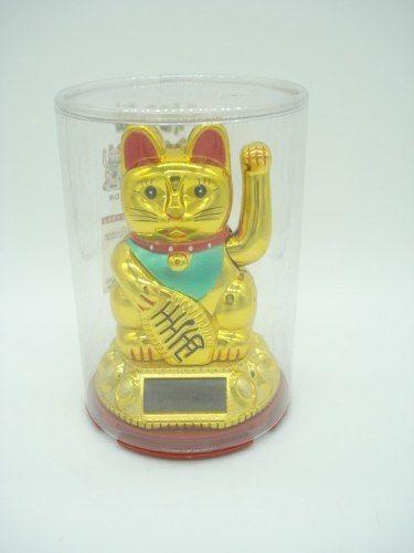 Gato Japonês Da Sorte Solar Dourado Pequeno  - Presente Presente