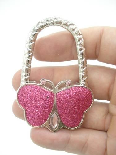 Gancho Para Pendurar Bolsa Dobrável Borboleta Pink Glitter  - Presente Presente