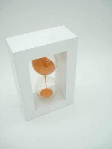 Ampulheta Base Madeira Areia Laranja Relógio Decoração  - Presente Presente