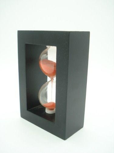 Ampulheta Base Madeira Areia Laranja Relógio Decoração Mrm  - Presente Presente