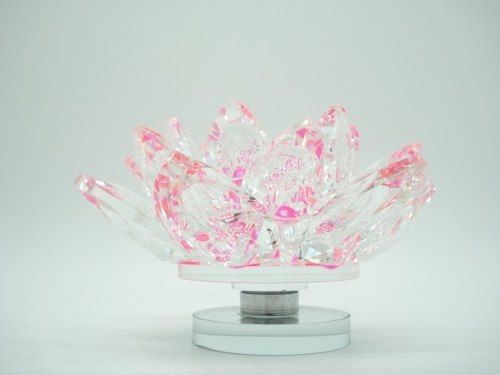 Flor De Lótus De Cristal Transparente Rosa Pink 10cm  - Presente Presente